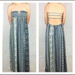 Tobi Print Strapless Maxi Dress.